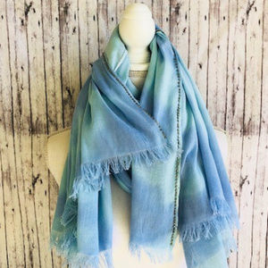 Accessories - SCARF EMBELLISHED WITH SILVER SQUARES BLUE SHADES